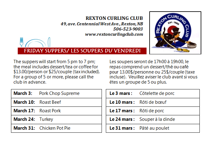 3- Friday Suppers -CurlingClub- DiffenteDates