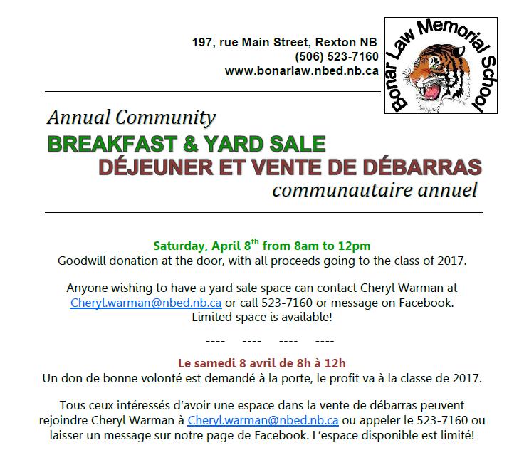 4- Breakfast & Yard Sale -April 8