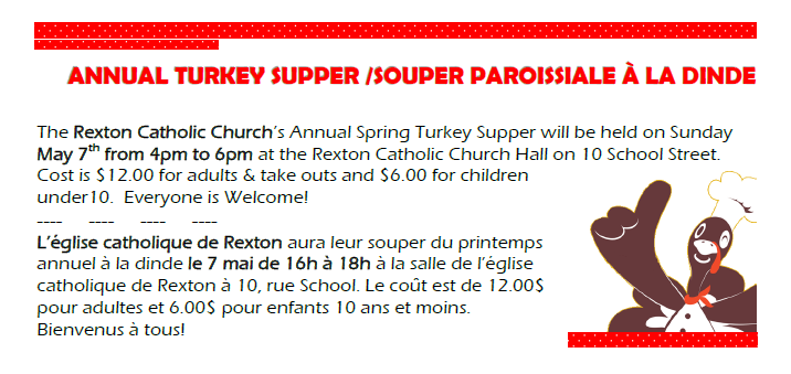 5- Turkey Supper -May 7