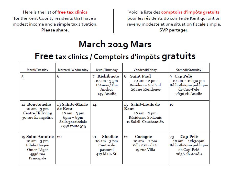 3- Free Tax Clinics (Dates&Locations)