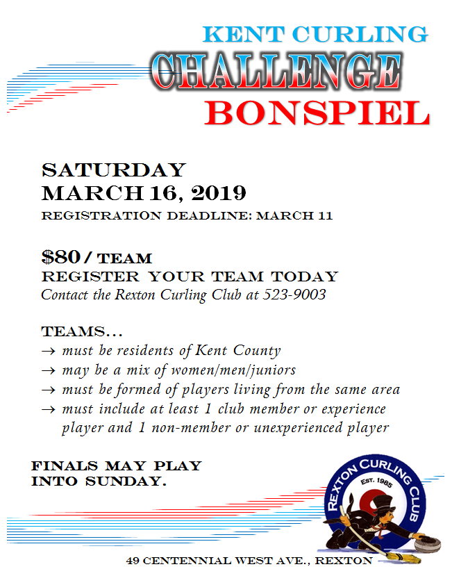 3- Kent Curling Challenge Bonspiel - March 16, 2019