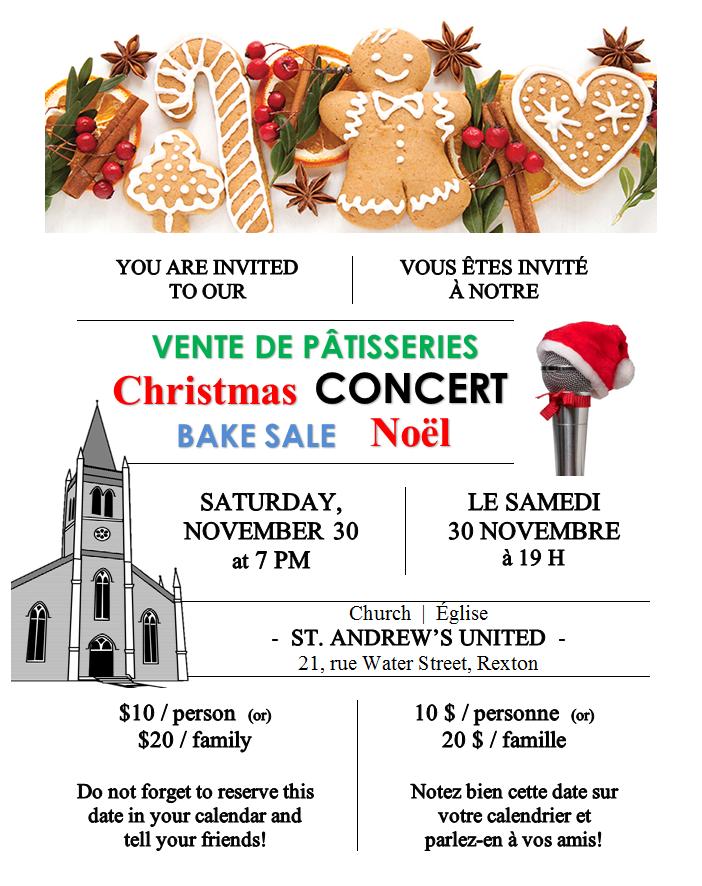 11- BakeSale & Concert St.Andrew'sUnitedChurch 30.11.2019